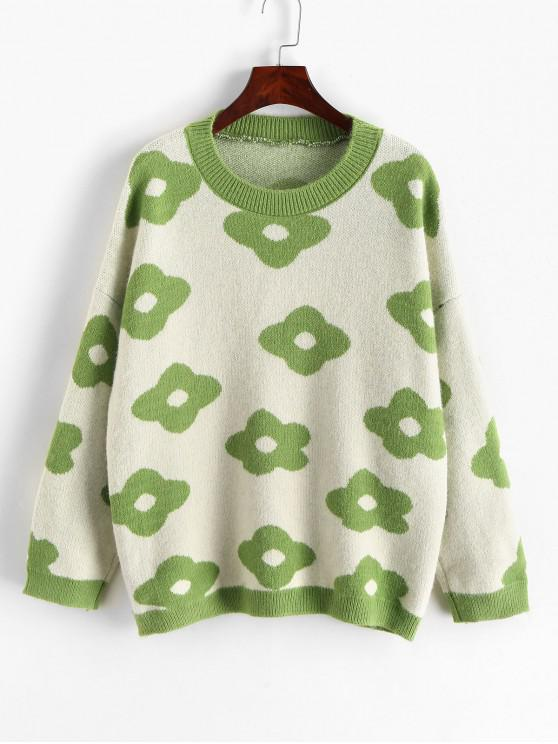 shops Flower Graphic Crew Neck Loose Sweater - GREEN ONE SIZE