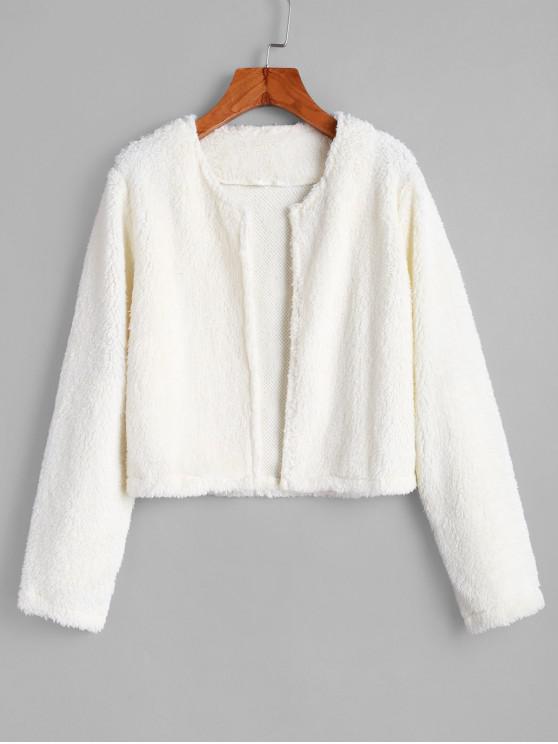 shops Open Fluffy Faux Shearling Jacket - MILK WHITE L