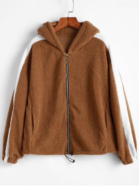 fancy Hooded Zip Drop Shoulder Pocket Fluffy Jacket - DARK GOLDENROD S