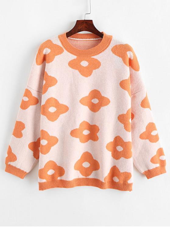 Suéter flojo con cuello redondo y estampado floral - Naranja Baloncesto Talla única