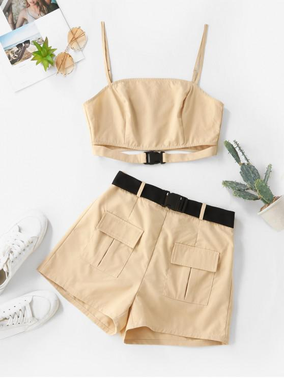 latest ZAFUL Buckle Zip Pocket Belted Two Piece Shorts Set - LIGHT KHAKI S