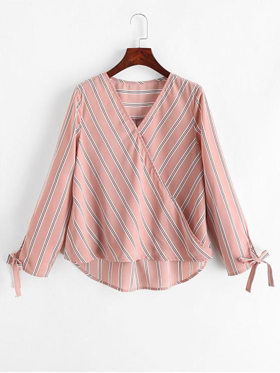 fancy ZAFUL Striped Tie Cuffs Surplice Blouse - PINK ROSE M