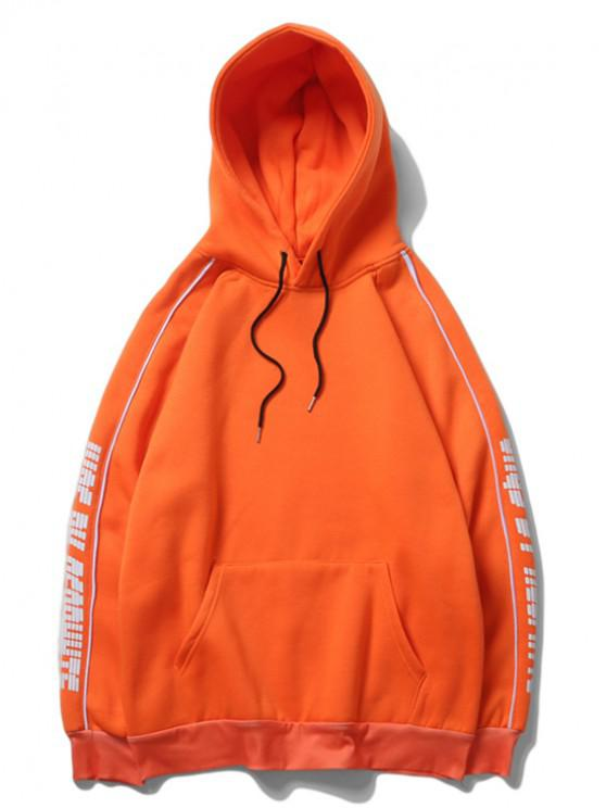 affordable Letter Print Raglan Sleeve Fleece Casual Hoodie - PUMPKIN ORANGE 2XL