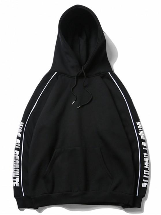 shops Letter Print Raglan Sleeve Fleece Casual Hoodie - BLACK M