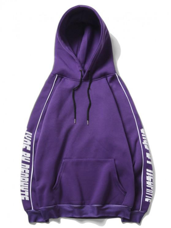 latest Letter Print Raglan Sleeve Fleece Casual Hoodie - PURPLE AMETHYST XL