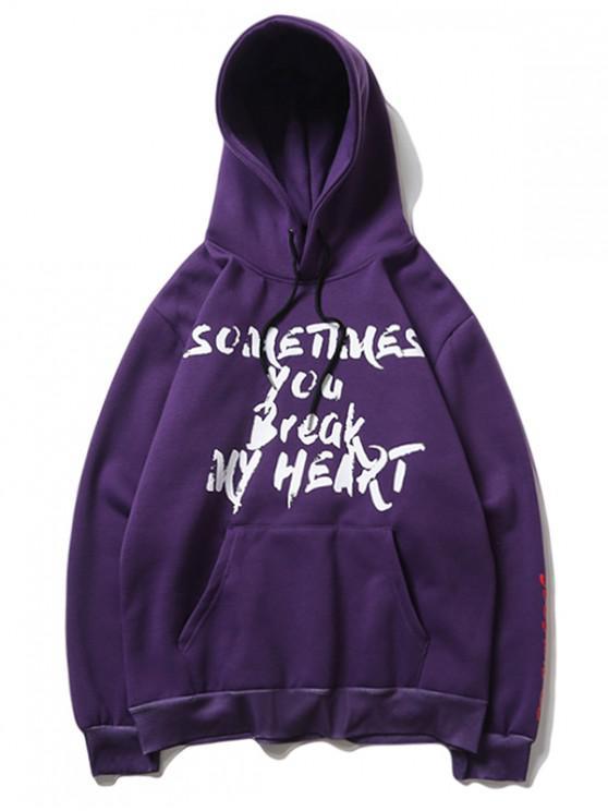 outfit Shouting Kid Letter Graphic Print Fleece Kangaroo Pocket Hoodie - PURPLE AMETHYST 2XL