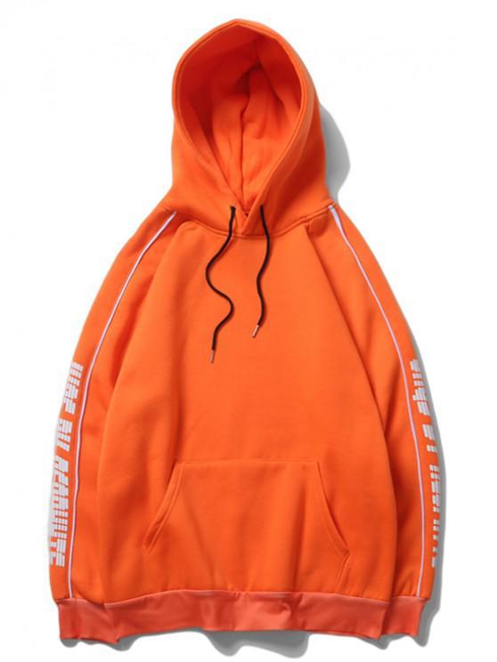 trendy Letter Print Raglan Sleeve Fleece Casual Hoodie - PUMPKIN ORANGE M