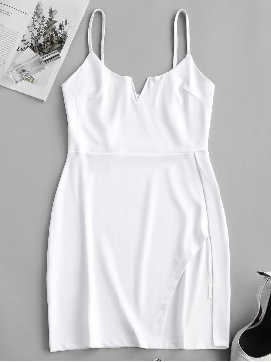 womens Notched V Wire Asymmetrical Cami Dress - WHITE S