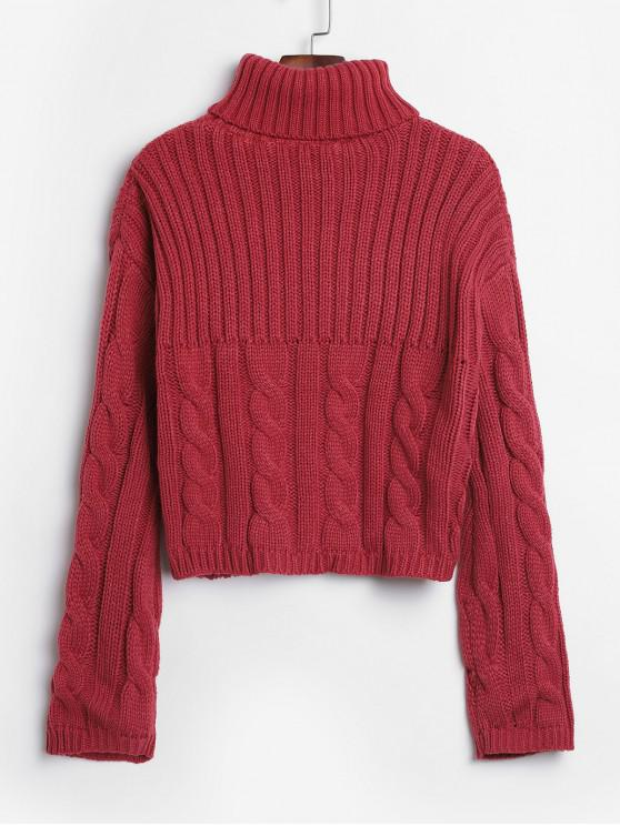 shop Turtleneck Cable Knit Chunky Crop Sweater - PALE VIOLET RED ONE SIZE