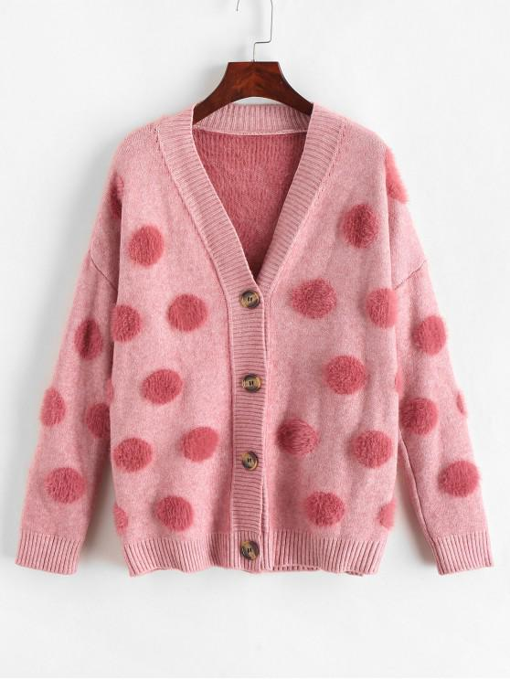 shops Round Pattern Button Up Fluffy Cardigan - MULTI ONE SIZE