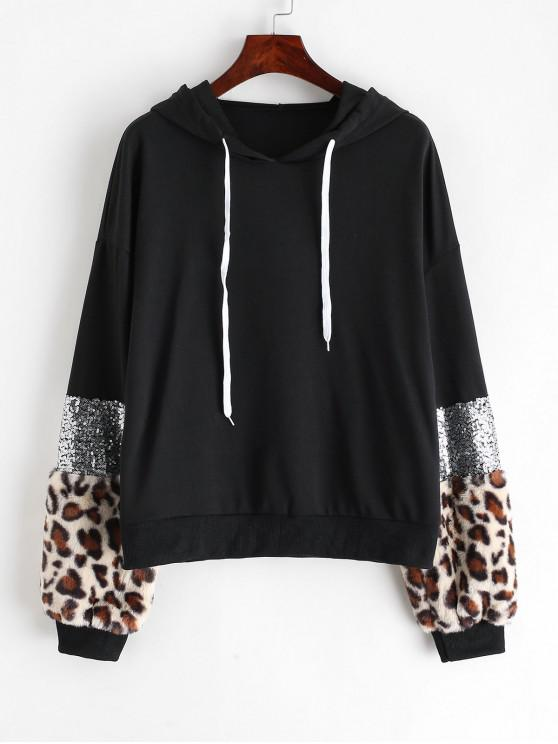 women's Fuzzy Leopard Sequined Drop Shoulder Hoodie - MULTI-A S