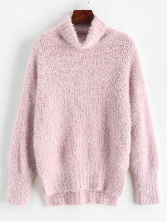 trendy High Low Slit Fluffy Turtleneck Drop Shoulder Sweater - ROSE ONE SIZE