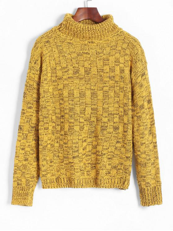 fashion Turtleneck Drop Shoulder Jumper Sweater - BEE YELLOW ONE SIZE