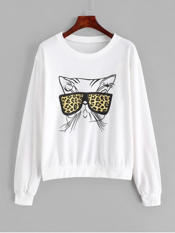 women Funny Cat Graphic Pullover Drop Shoulder Sweatshirt - MILK WHITE S