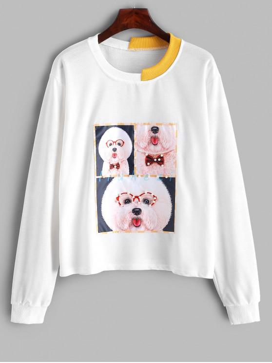 latest Funny Dog Faux Pearls Boxy Sweatshirt - MILK WHITE M