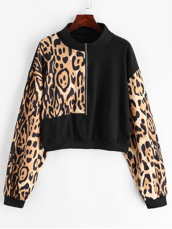 Leopard- Halber Reißverschluss- Hängender Sweatshirt - Multi-A S