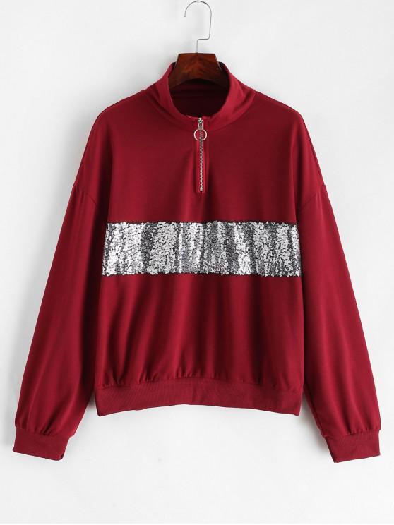 Sweatshirt Zippé à Goutte Epaule à Paillettes - Châtaigne Rouge XL
