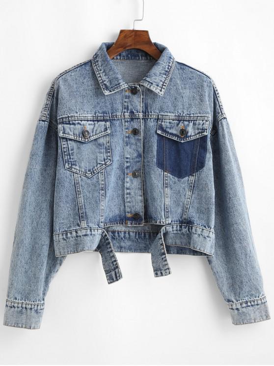 new Cutout Button Up Flap Pockets Denim Jacket - DENIM BLUE S