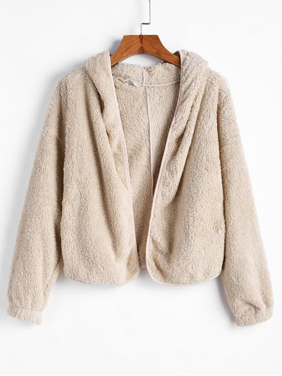 Sale Hooded Pocket Drop Shoulder Fuzzy Jacket   Beige M by Zaful