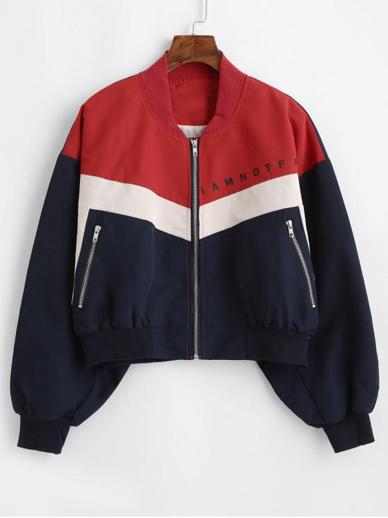 fancy Slogan Graphic Zip Up Color Block Bomber Jacket - MULTI M