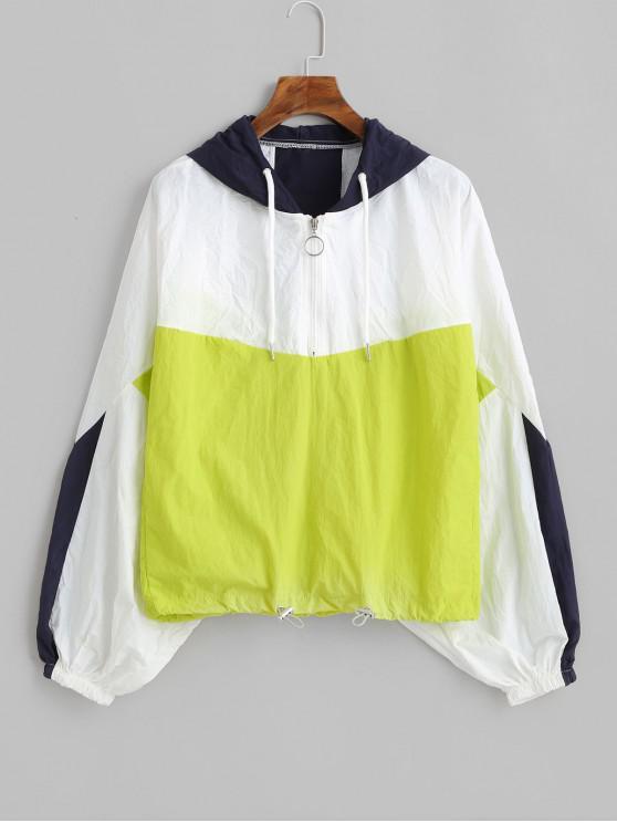shop Zip Front Color Block Popover Windbreaker Hoodie - MULTI S