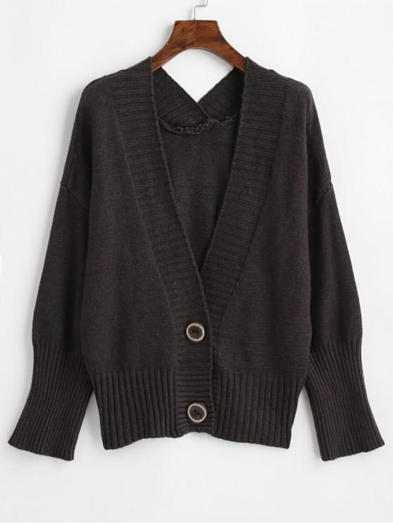 women's Drop Shoulder Two Buttoned V Neck Cardigan - CARBON GRAY ONE SIZE