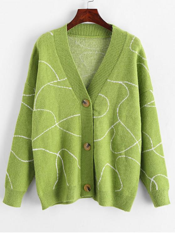 lady Button Up Graphic V Neck Cardigan - GREEN ONE SIZE