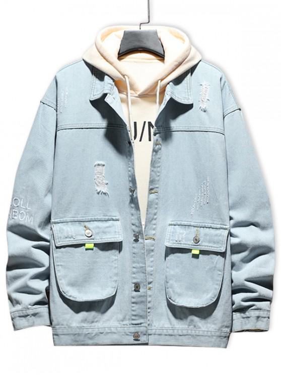 best Letter Embroidery Scratch Ripped Flap Pocket Jean Jacket - DENIM BLUE XS
