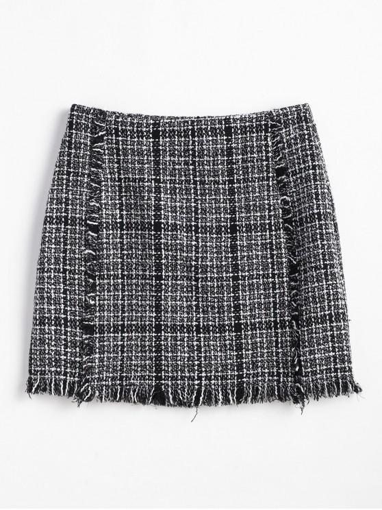 chic ZAFUL Frayed Plaid Tweed Mini Skirt - MULTI S