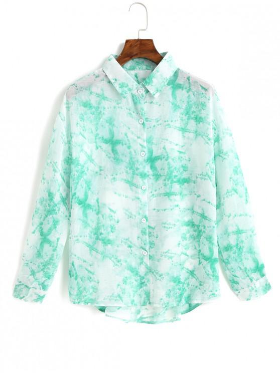 women's Button Down Tie Dye Cut Out Back Shirt - TURQUOISE ONE SIZE