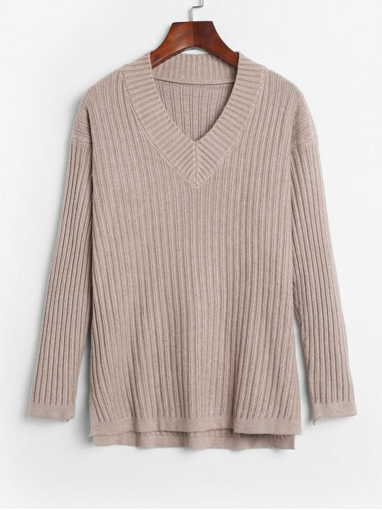 fancy Side Slit Ribbed V Neck Sweater - TAN ONE SIZE