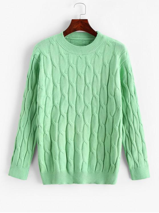 lady Cable Knit Solid Crew Neck Sweater - MACAW BLUE GREEN ONE SIZE