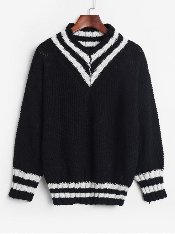 outfits V Neck Pullover Stripes Panel Sweater - BLACK ONE SIZE