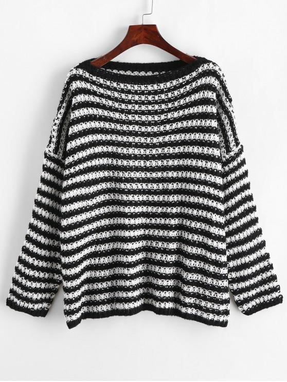 shops Striped Drop Shoulder Open Knit Loose Sweater - MULTI-A ONE SIZE