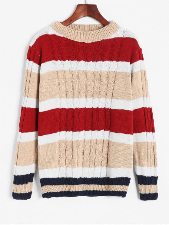 buy Color Block Cable Knit Boyfriend Sweater - MULTI-A ONE SIZE