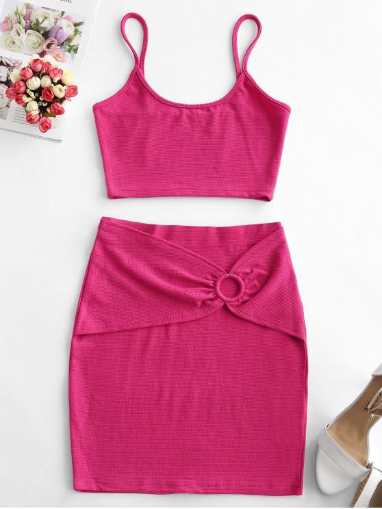 women Cami Cropped O Ring Two Piece Dress - TULIP PINK M