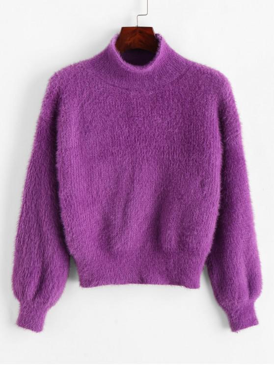 womens Drop Shoulder Mock Neck Fluffy Fuzzy Sweater - PURPLE ONE SIZE