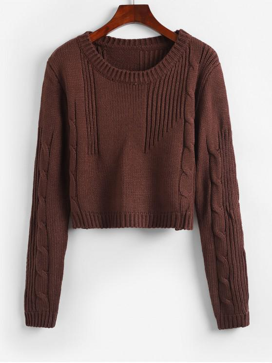 women Cable Knit Solid Crop Sweater - DEEP COFFEE ONE SIZE