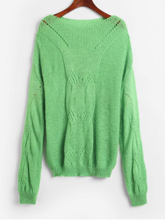 outfit Pointelle Knit Solid Loose Sweater - YELLOW GREEN ONE SIZE