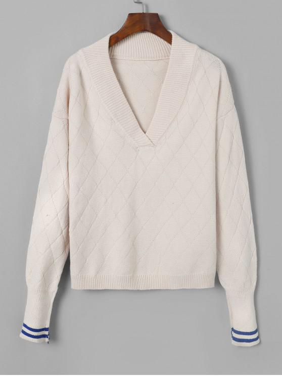 ef9111328bb V Neck Striped Drop Shoulder Sweater WARM WHITE