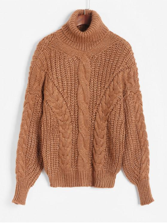 chic Lantern Sleeves Turtleneck Cable Knit Sweater - BROWN ONE SIZE
