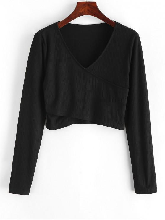outfits ZAFUL Crossover Ribbed Crop Top - BLACK S
