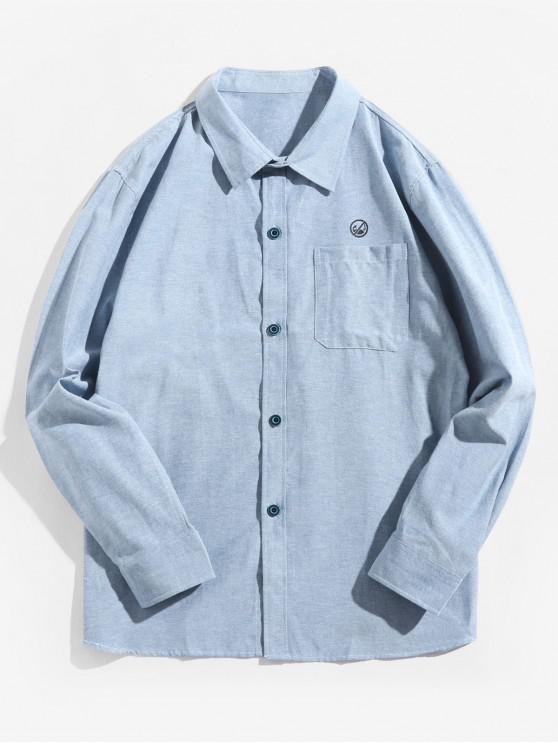womens Letter Graphic Print Solid Chest Pocket Casual Shirt - DENIM BLUE L