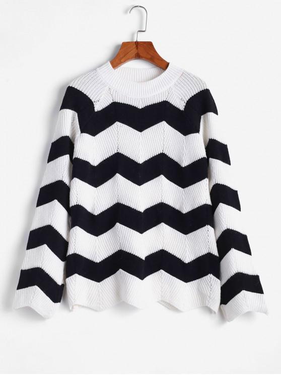 online ZAFUL Zigzag Mock Neck Raglan Sleeve Knit Sweater - MULTI M