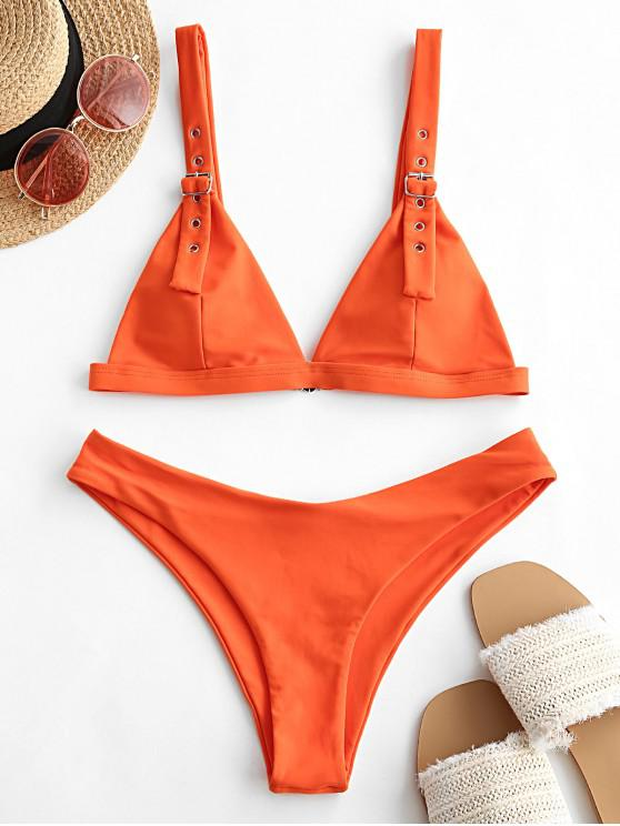 fashion ZAFUL Buckle High Leg Padded Bikini Swimsuit - ORANGE S