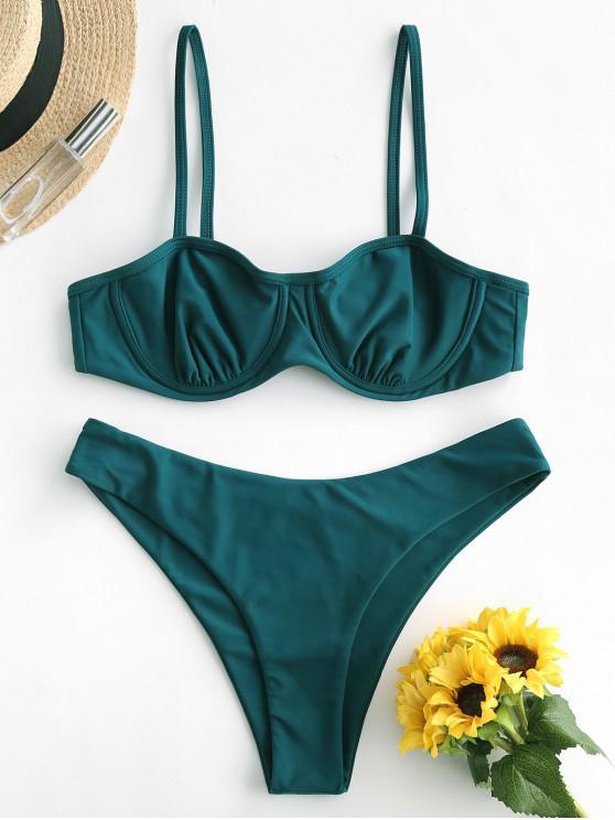 fashion ZAFUL Tie Back Underwire High Leg Bikini Swimsuit - PEACOCK BLUE S