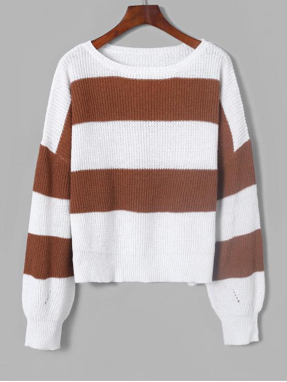 hot ZAFUL Two Tone Drop Shoulder  Boyfriend Sweater - MULTI-A M