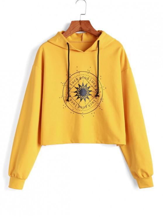 affordable ZAFUL Drawstring Star Letter Graphic Hoodie - BEE YELLOW XL