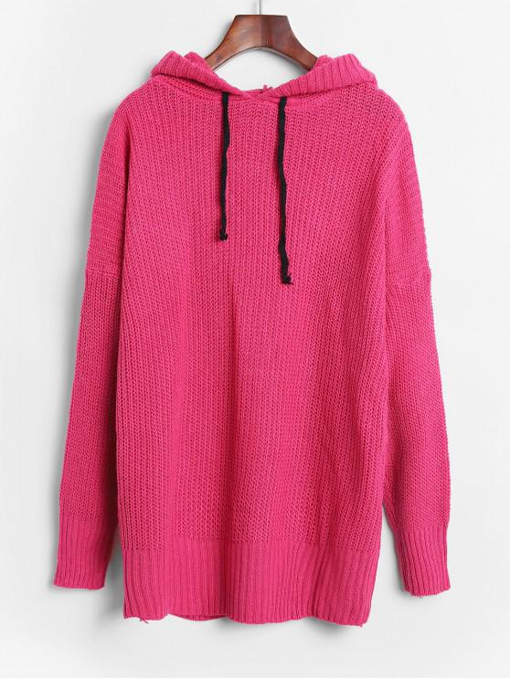 best Hooded Drop Shoulder Longline Jumper Sweater - DEEP PINK ONE SIZE