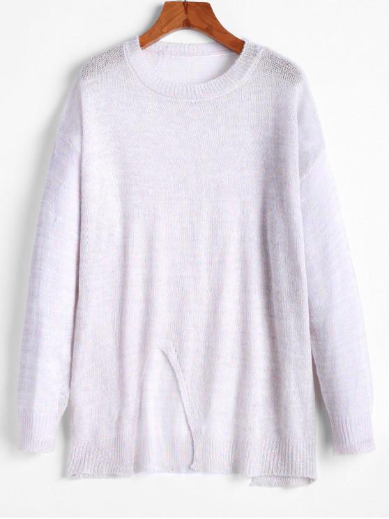 new ZAFUL Metallic Thread Slit Drop Shoulder Tunic Sweater - MULTI M
